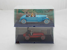 Lot 2 Miniatures En voiture Tintin Les Cigares du Pharaon Linlcoln Bolide rouge