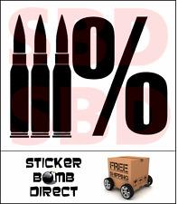 Three Percenter Bullet Decal Gun Vinyl Sticker 3% 2nd Amendment Patriot Threeper