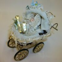 Kurt Adler Baby Doll in Wicker Buggy Carriage Christmas Tree Ornament