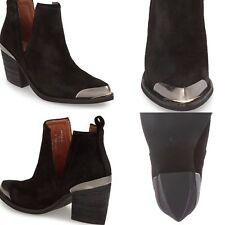 JEFFREY CAMPBELL Free People Optimum Black Oiled Suede Metal Boots SOLD OUT $225