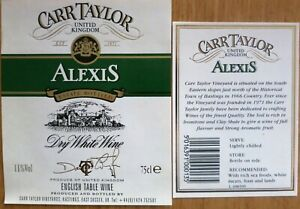 Etiquettes vin UNITED KINGDOM CARR TAYLOR ALEXIS Dry W English Table Wine Labels