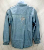 Disney Gallery Shirt Light Blue Denim Jean Mickey Mouse in Crystals XL NWT