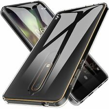 Shockproof Clear Slim Gel Case & Glass Screen Protector for Nokia 6 (2018) / 6.1