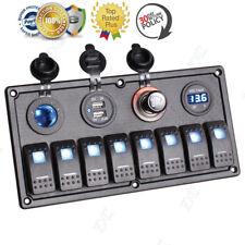 8 Gang Car Marine Boat LED Rocker Switch Control Panel Circuit Voltmeter 12V 24V