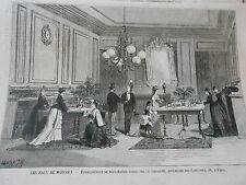 Gravure 1874 - Les eaux de Marcols établissement de dégustation