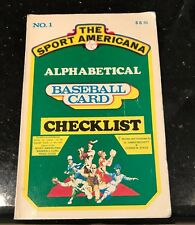 THE SPORTS AMERICANA ALPHABETICAL BASEBALL CARD CHECKLIST NUMBER 1