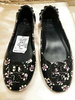 """NWT TORY BURCH """"MINNIE TRAVEL"""" BLACK PATENT LEATHER FLORAL BALLET SIZE: 6.5"""