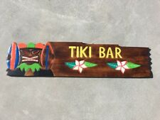 """39"""" TIKI BAR HAND CARVED WOOD SIGN WALL ART ISLAND TROPICAL PATIO TIKI DECOR"""