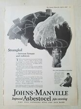 1927 Johns Manville asbestos asbestocel strangled between furnace radiator ad