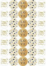 Papier 37 mm Stickers effet doré Happy Saint Valentin Artisanat Doux Sacs Fête