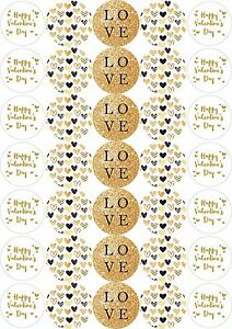37mm Paper Stickers Gold Effect Happy Valentines Day Crafting Sweet Bags Party
