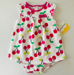 Baby Girl 9 Months Cherry Print Romper Sunsuit Bodysuit Clothes Cotton