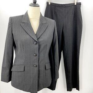Kasper Petite Women's 2 Piece Pant Suit Charcoal Pinstriped Size 8P EUC Career