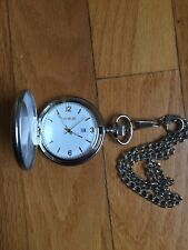 2 tone Gold Finish Men's Brass Skeleton Dial Pocket Watch Originally $70