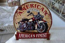 Nostalgie Blechschild Bild American Biker Motorrad 30x30 cm Rund Retro NT.61 NEU