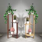 Rustic 3 Tier Art Corner Wooden Plant Stand Ladder Flower Pot Display Rack Shelf