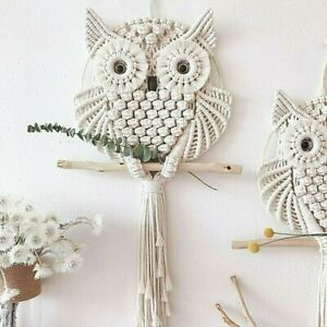 Owls Cotton Macrame Dream Catchers Living Room Wall Hanging Ornament Hand-Woven