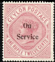 Ceylon 1895 Service dull-rose 1r.12c crown CC sideways perf 14 mint SG O17