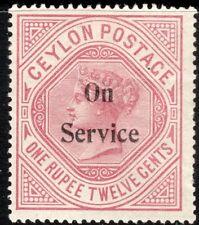 Ceylon 1895 Service dull-rose 1r.12c crown CC sideways perf 14 mint SG O17