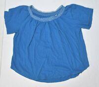 Woman's ANN TAYLOR LOFT Blue Short Sleeve 100% Cotton Blouse Size Extra Large XL
