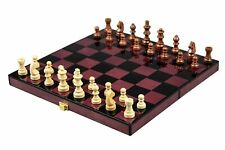 Wooden Chess Board Folding Travel Set Non Magnetic in High Gloss Finish