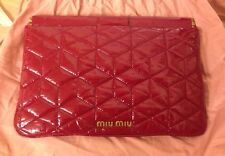 MIU MIU.  RED . Matelasse Ruche Leather Clutch Wristlet Wallet. Rare