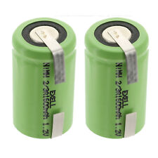 2-Pack Exell 2/3A 1100mAh 1.2V Nimh Rechargeable Batteries w/ Tabs Fast Usa Ship