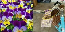 Plarn Recycled plastic Bag phone Tote Purse  Handmade Eco friendly pansy bike