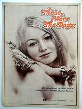 MARY HOPKIN Sheet Music THOSE WERE THE DAYS TRO Publ. 60s 70's FOLK Pop BEATLES