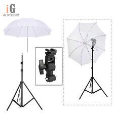 "Pro Studio Light Stand + Flash Speedlite D Bracket Mount + 33""White Umbrella K"