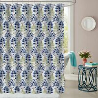 """Florence Blue/Green Floral Fabric Bathroom Shower Curtain 70""""x72"""""""