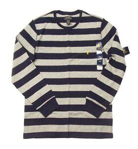 Polo Ralph Lauren Men's Gray/Navy Stripe Waffle Knit Thermal Crew-Neck T-Shirt