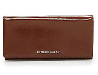 ANTONIO MELANI BiFold Checkbook Wallet NWT Luggage Brown Patent Leather
