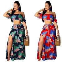 Women off shoulder floral print summer vacation long skirts set dress 2pc