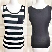 ABS Allen B Schwartz Womens Striped Tank Top XS Black White Lace Pocket Casual