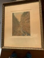Charles Sawyer Ausable Chasm,  Very Old. Matted Pencil Signature Original Frame