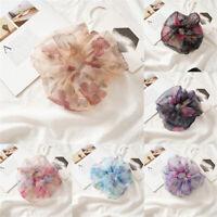 Organza Sheer Scrunchies Floral Print Fashion Ponytail Holder Band Hair Ties FS
