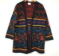 Cherry Lewis Womens Vintage Open Kimono Cardigan Sweater Size M Floral Long Wool