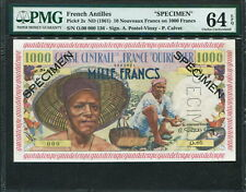 French Antilles 1961, Specimen 10 N.Francs on 1000 Francs, P2s, PMG 64 EPQ UNC