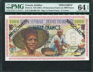 French Antilles 1961, Specimen 10 N.Francs on 1000 Francs, P2s, PMG 64 EPQ UNC