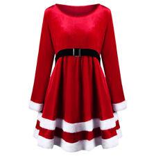 Adults Ladies Mrs Santa Claus Velvet Fancy Dress Womens Christmas Costume Outfit