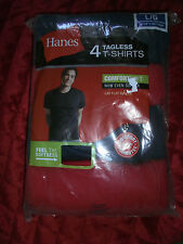 HANES 4 TAGLESS T SHIRTS BLUE AND RED