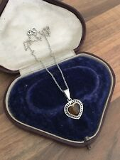 "Lovely 14.5"" Marked Sterling Silver & Amber Suarti Style Heart Necklace 4.6gr"