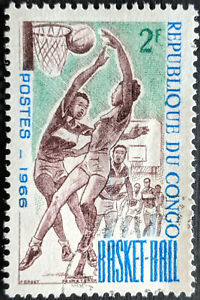 Stamp Congo Republic SG92 1966 2Fr Sports Basketball Mint Hinged