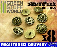 8x Steampunk Buttons BOLTS & GEARS - Antique Gold - 20mm - Metal Shank button