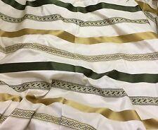 """Silk Taffeta Fabric - Gold & Green Satin Stripe 54"""" By The Yard"""