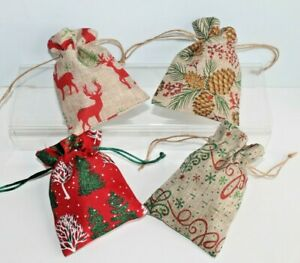 CHRISTMAS Hessian Drawstring Linen Fabric Gift Bags * 4 Designs 3 Quantities