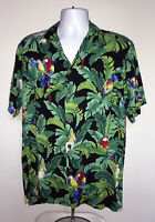 Mens Hilo Hattie Hawaiian Shirt Parrots Medium Tropical Palms Rayon Aloha Macaw