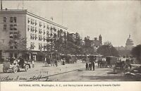 Washington, D.C. 1908 - National Hotel, Pennsylvania Avenue - old cars trolley