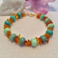 Handmade Genuine Gemstone Jewellery Chrysoprase & Amber 925 sterling Bracelet.